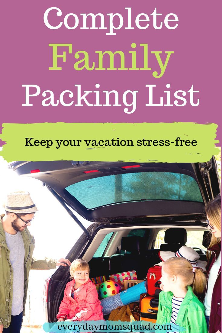 Family vacation packing checklist. Packing list for ...