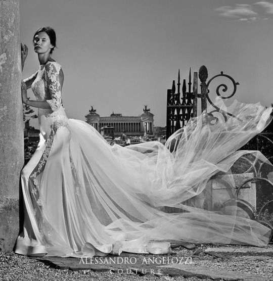 Bianca Balti photographed by Fabrizio Ferri for Alessandro Angelozzi Couture Bridal 2015