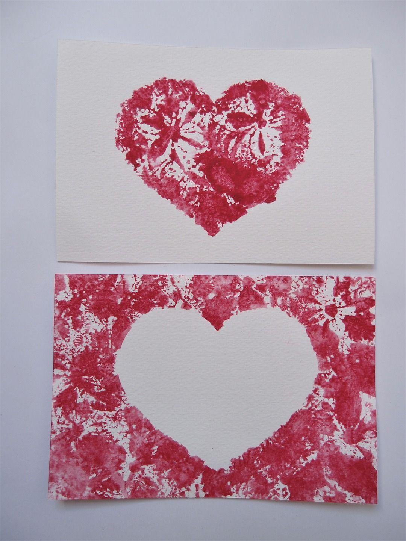 Carte Coeur Rouge Rose Imprime Dentelle Fleurs Amour Cartes