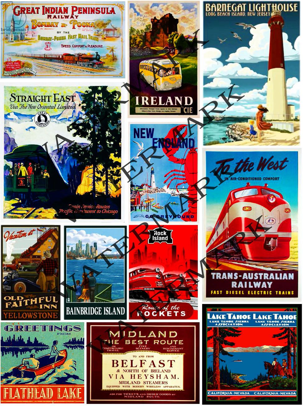 Vintage Travel Posters Home Decor Collage Clip Art Altered Arts Supply Lake
