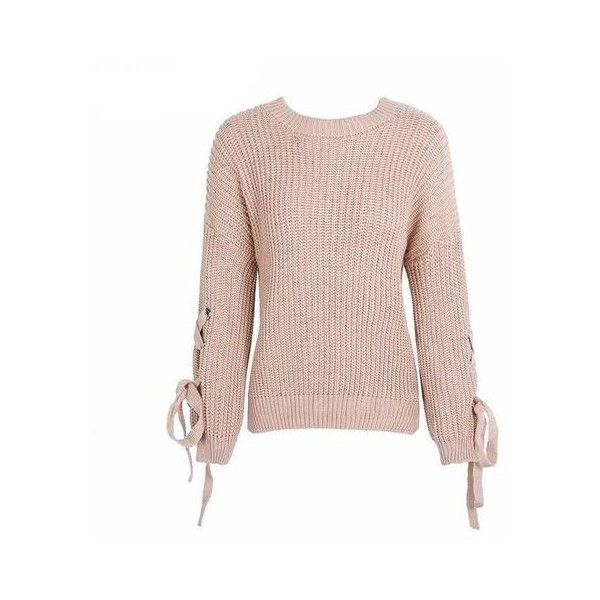 2c37317bc8d Casual o neck knitted sweater women jumper Lace up sleeve knitting pull  autumn winter sweater pullover female