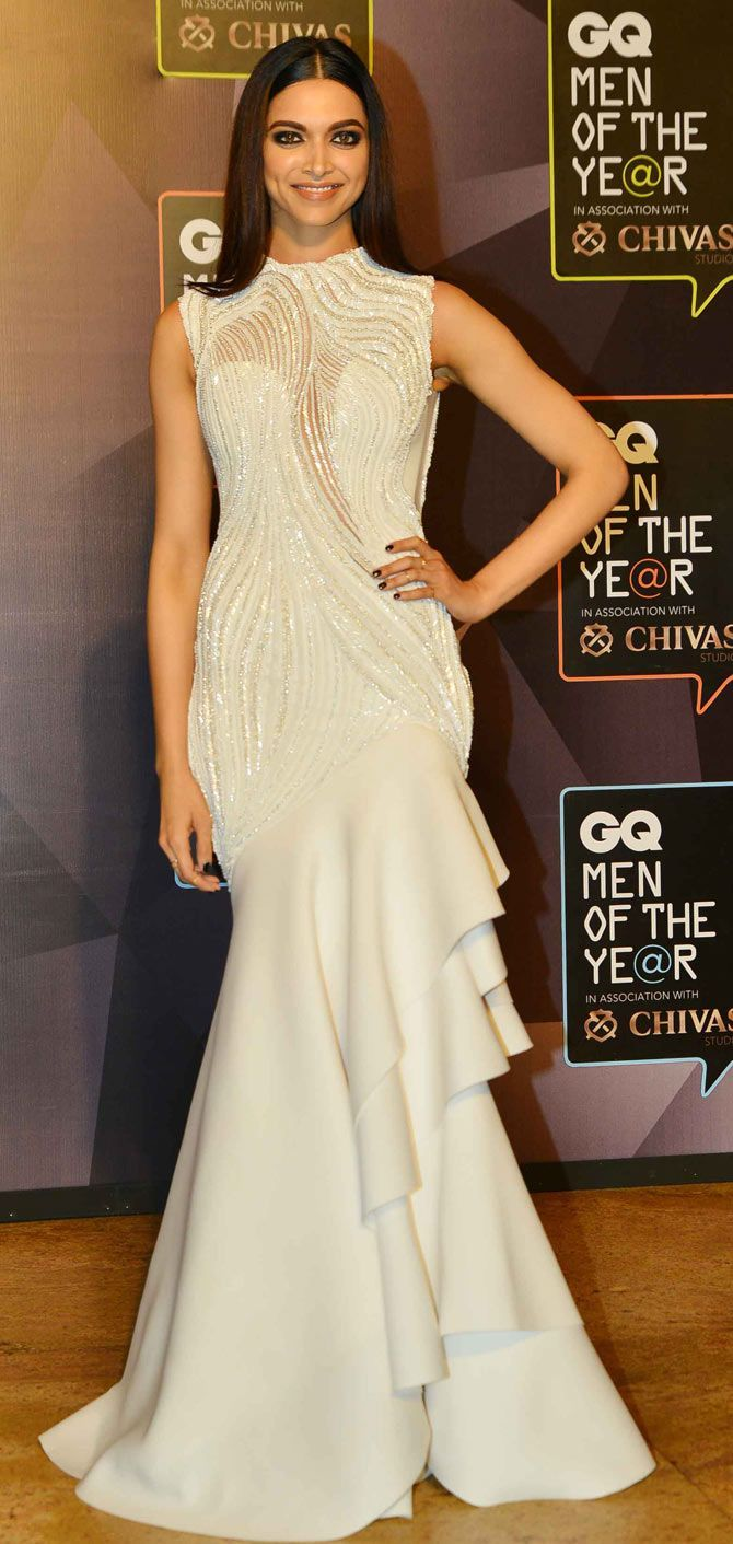 Deepika Padukone at a gala event looking stunning in a white gown ...