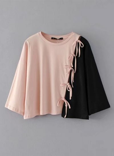 Color Block Bow Loose Tee Shirt #teedesign