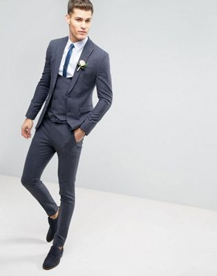 ASOS WEDDING - Costume super slim à petits carreaux - Bleu ... 57efad53be0