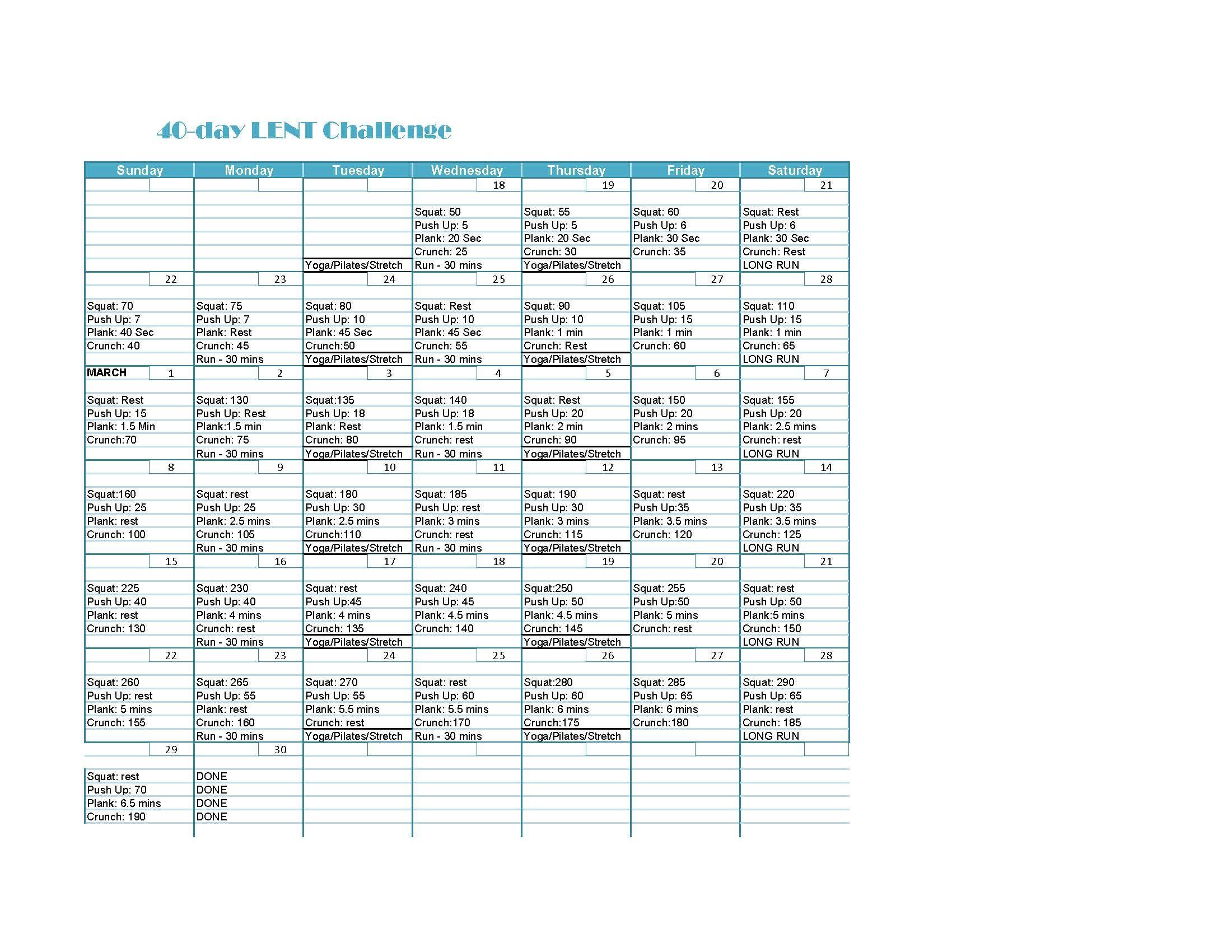 40-day Lent fitness challenge   Fitness   Pinterest   Fitness ...