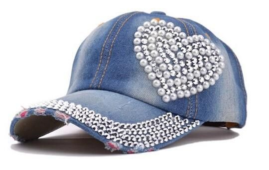 468a077d76 New snapbacks hats sport heart-shaped diamond pearl new cowboy bone ...