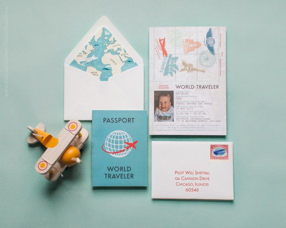World Traveler Passport Invitation Airplane Birthday Plane Traveller Around The Baby Shower Jet Setter