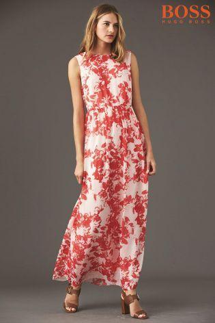 Boss Orange Red Floral Maxi Dress | Summer Style | Pinterest