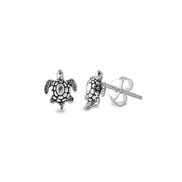 Sterling Silver 8mm Antiqued Sea Turtle Stud Earrings