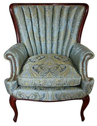 Perfect 1940s Channel Back Wing Chair!