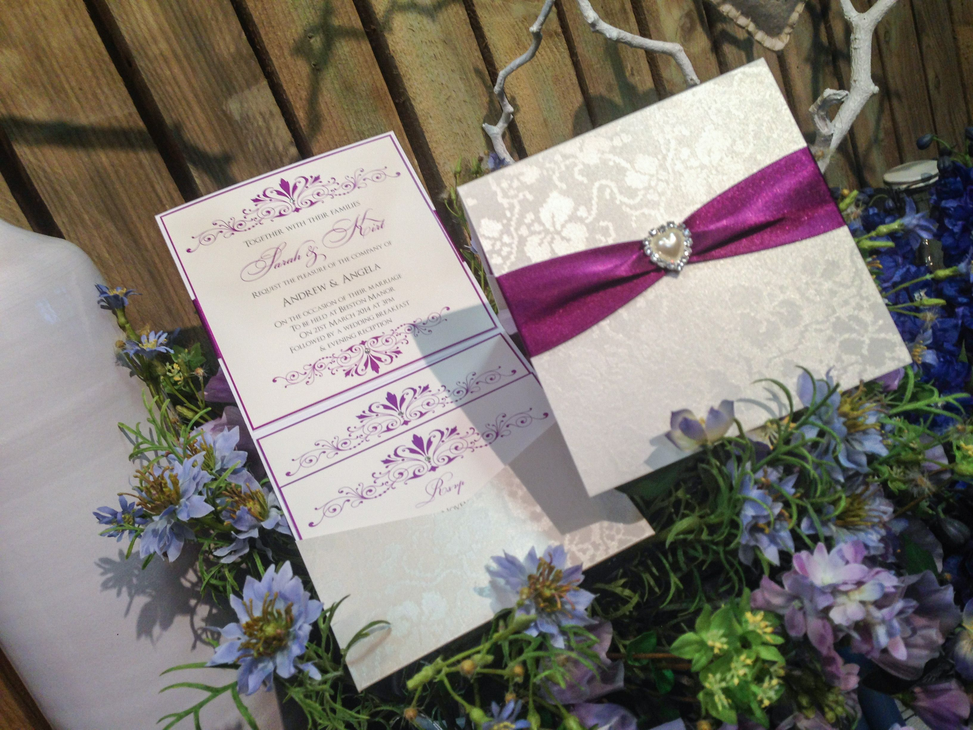 Tapestry pocketfold wedding invitation with purple ribbon and love ...