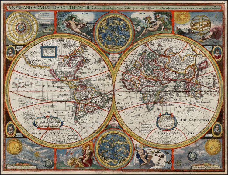 A New And Accvrat Map Of The World 1626.Celestial Map Of The World John Speed 1626 7500 00 Graphic