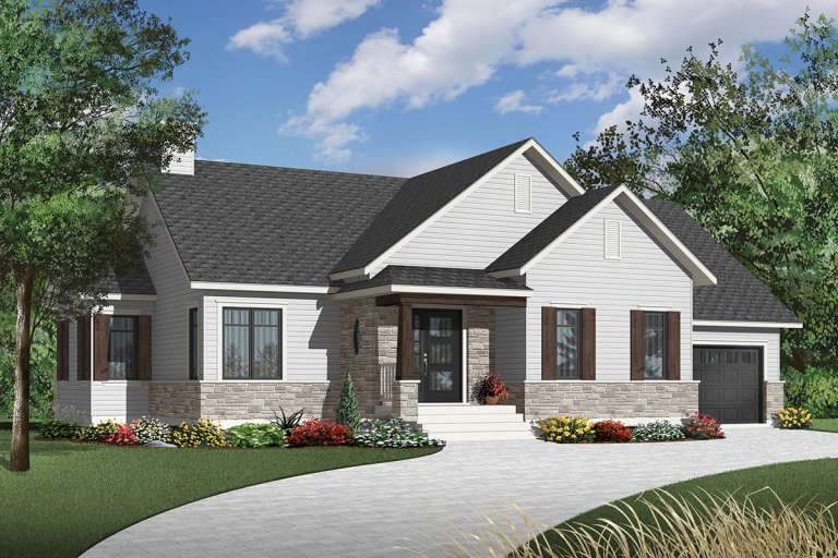 House Plan 034 01164 Ranch Plan 1 314 Square Feet 2 Bedrooms 1 Bathroom In 2021 Country Style House Plans Ranch House Plan Drummond House Plans