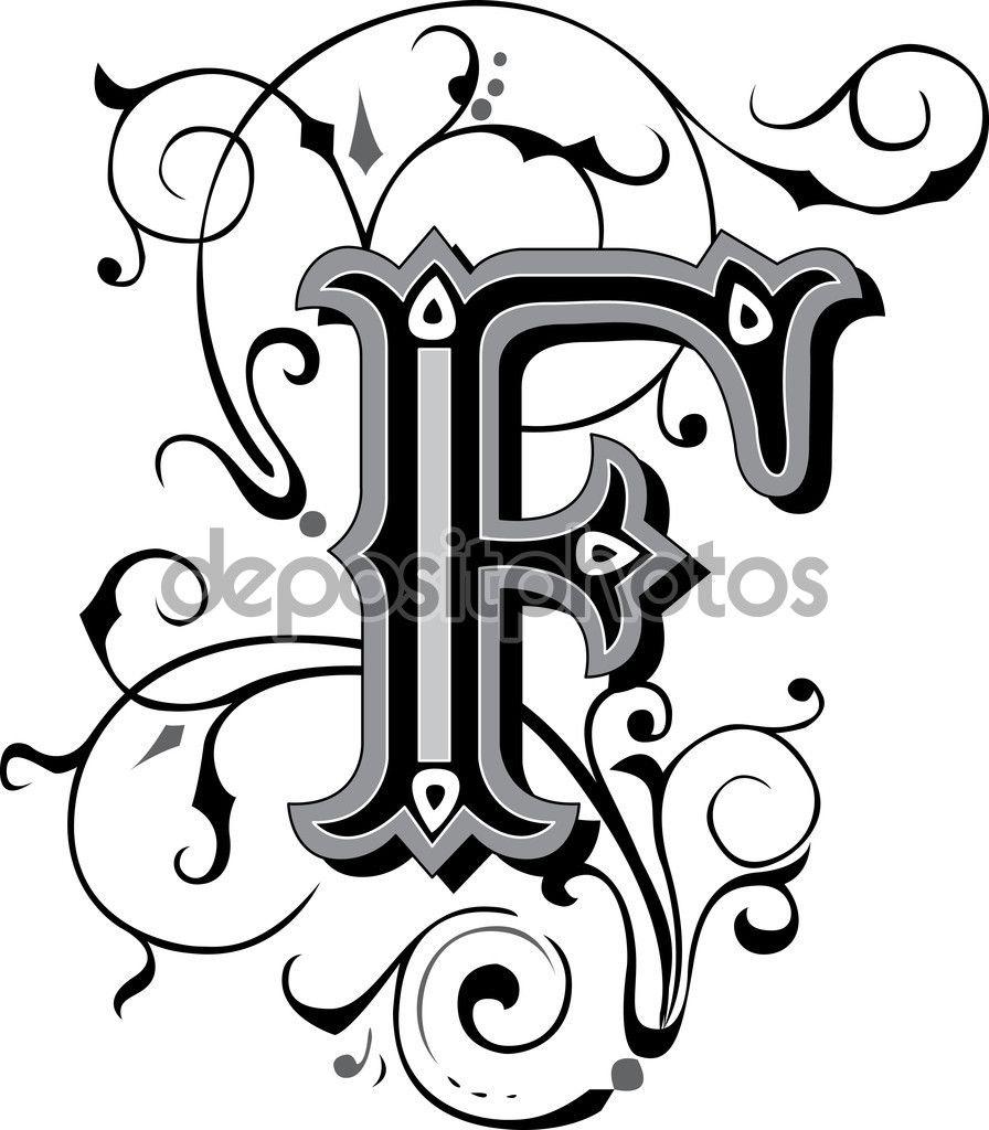 magnifiquement d cor es des alphabets anglais lettre f illustration 54186789 enluminures. Black Bedroom Furniture Sets. Home Design Ideas