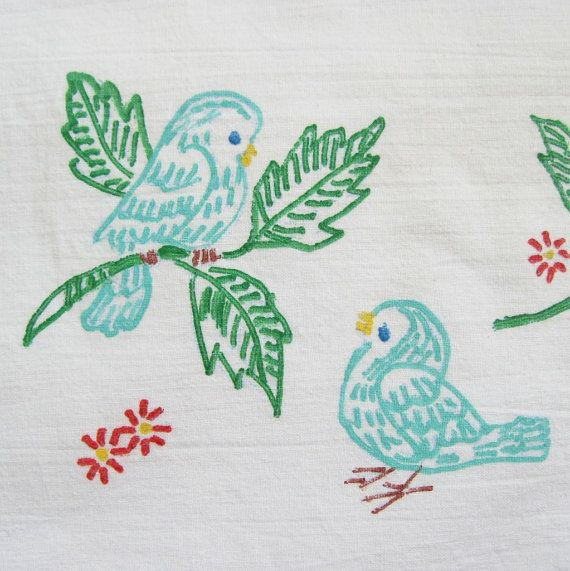 Vintage Liquid Embroidery Pillowcase Bluebirds Of Happiness