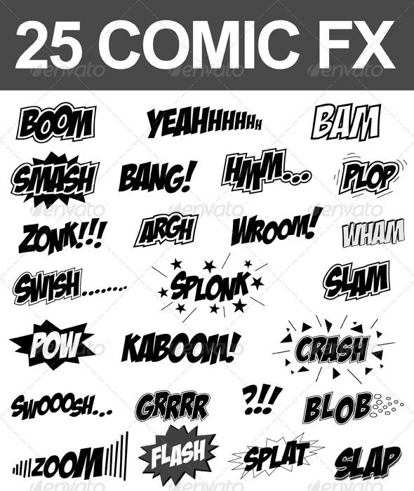 25 Comic Sound FX Vector Set EPS Smash Zonk O Available Here Graphicriver Item Fx 2715324refpxcr