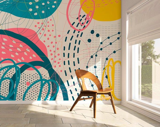 Abstract Red Terrazzo Removable Wallpaper Wall Mural Peel Etsy In 2020 Removable Wallpaper Boho Wallpaper Wall Wallpaper