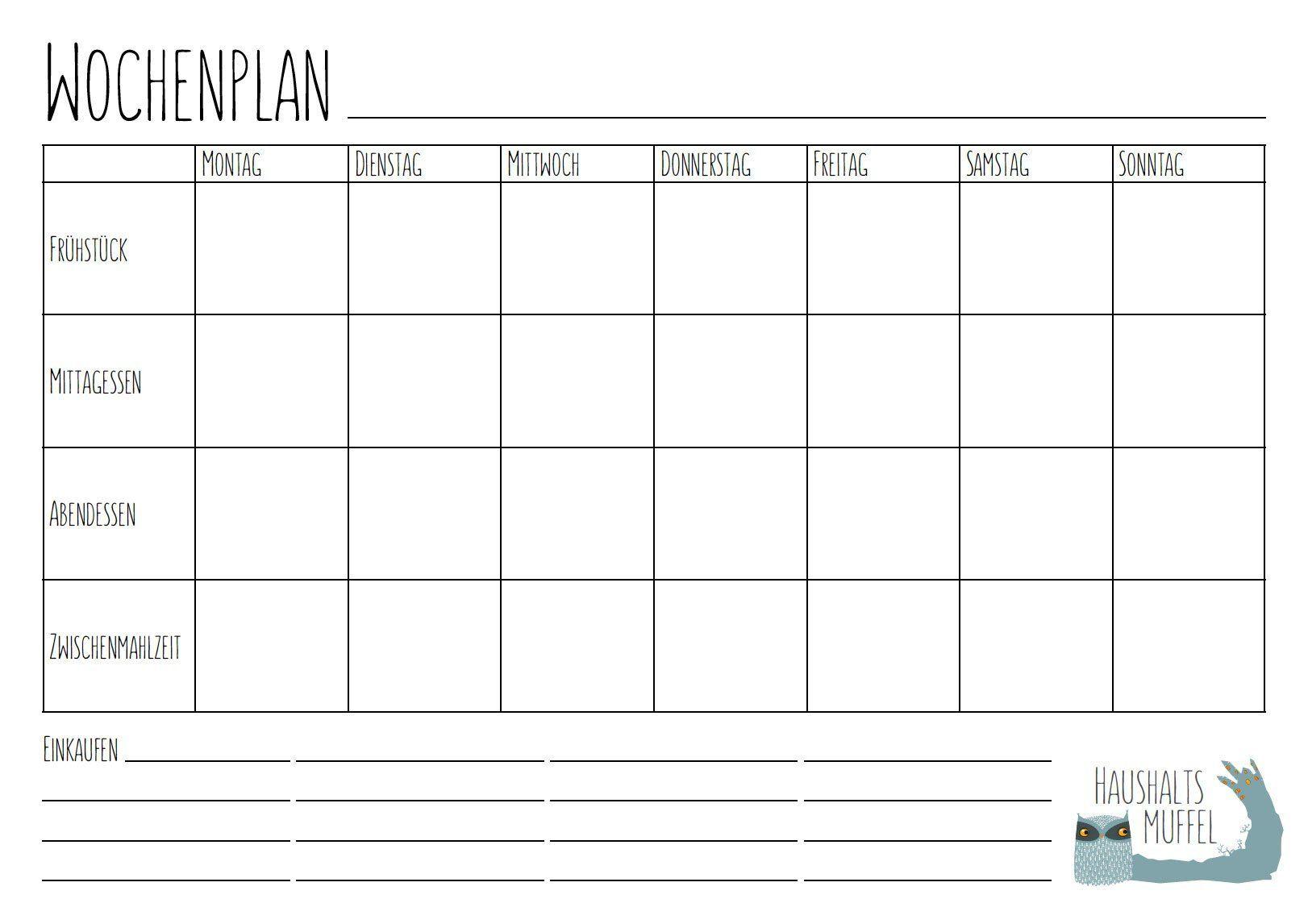 Menu Wochenplaner Mit Download Planer Wochen Planer Planer Vorlagen