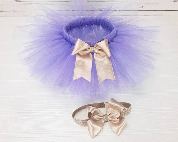 069d22572 Light Purple Tutu for Girls - Lavender and Gold Tulle Skirt - Tutu and  Headband Set - Newborn Baby G