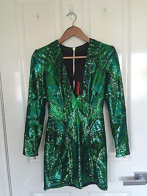 Vestido verde lentejuelas balmain