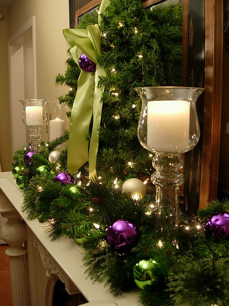 Feasible Christmas Themed Fireplace Mantel Decorating Ideas : Amazing Christmas  Fireplace And Mantel Decorating Idea With Glass Candle Light Holder Also ...