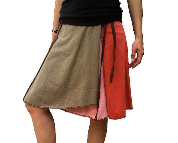 Warm Tones Wrap Festival Skirt  Upcycled by acarolinaclementine