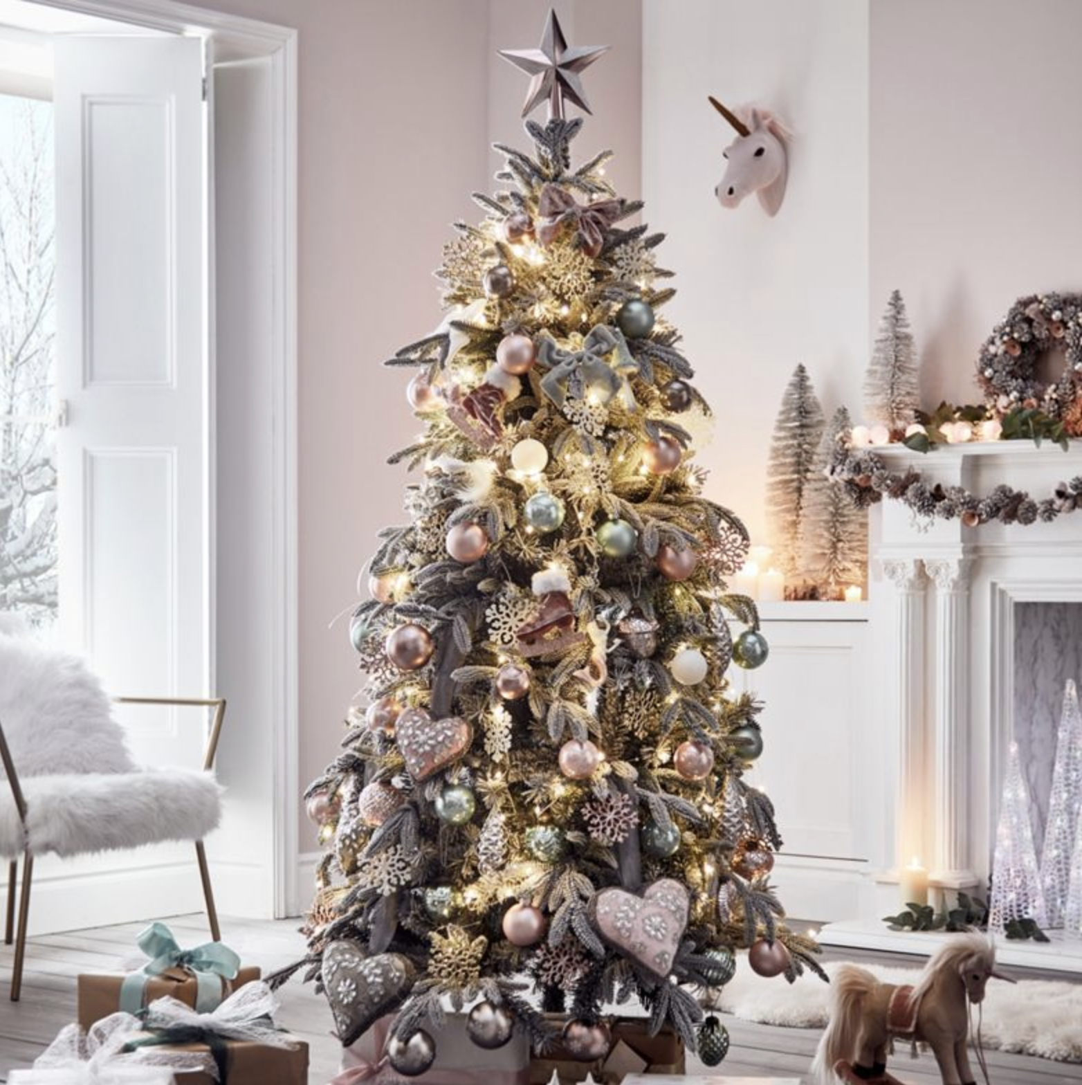 Artificial Lake Forest Snow Trees Silver christmas tree
