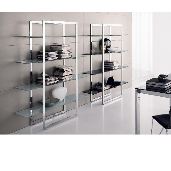 Modern Stainless Steel Bookcase Glass Bookcase Wood Interior