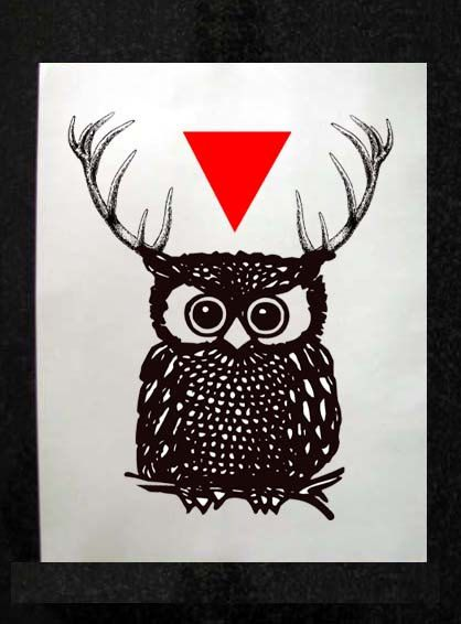 owl with antlers and triangle mixed media by samsaraprints on etsy 10 00 art