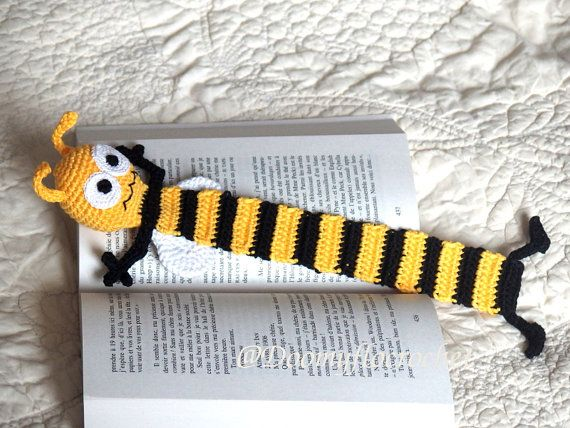 Crochet Bookmark Bee Yellow And Black Cotton Yarns Insect Books