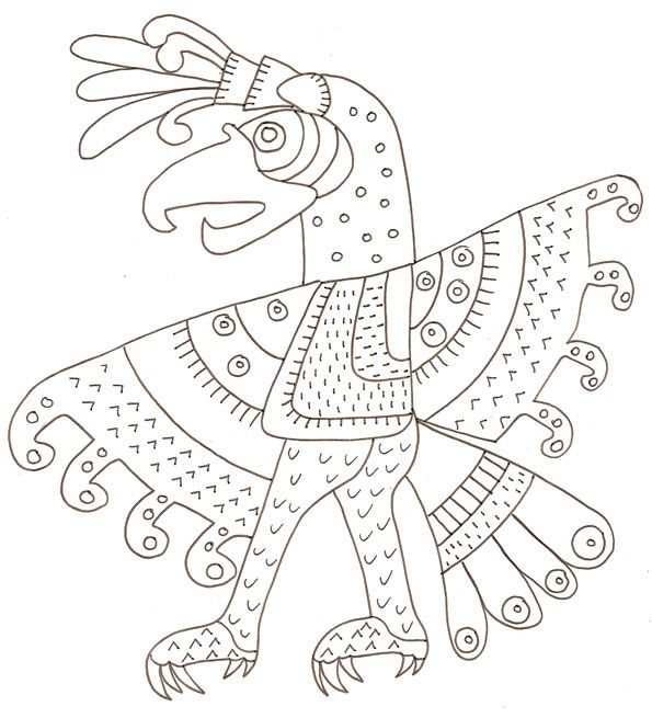 Coloriage d 39 un motif mexicain antique l 39 oiseau in 2018 - Masque oiseau a imprimer ...