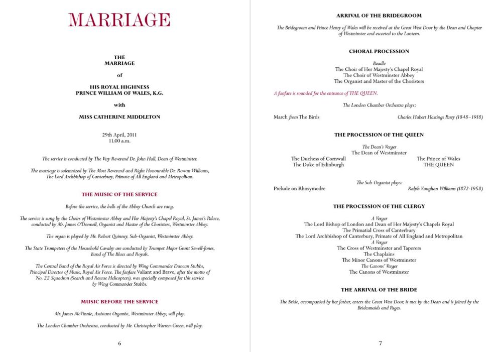 Official Royal Wedding Program Prince William And Catherine