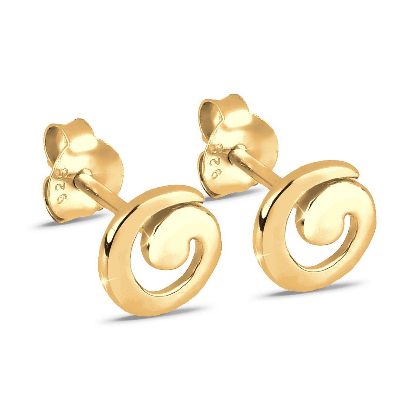 Ohrstecker aus 925er Sterlingsilber, vergoldet, Spiralenform, Durchmesser ca. 7 mm.  Produktdetails: Gewicht: 1,0g, Durchmesser: 8mm, Optik: glänzend,  ...