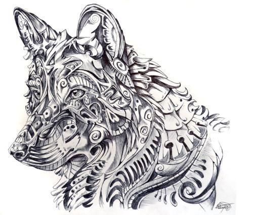 Dibujo De Lobo Para Tatuajes Dibujos Pinterest Art Drawings Y