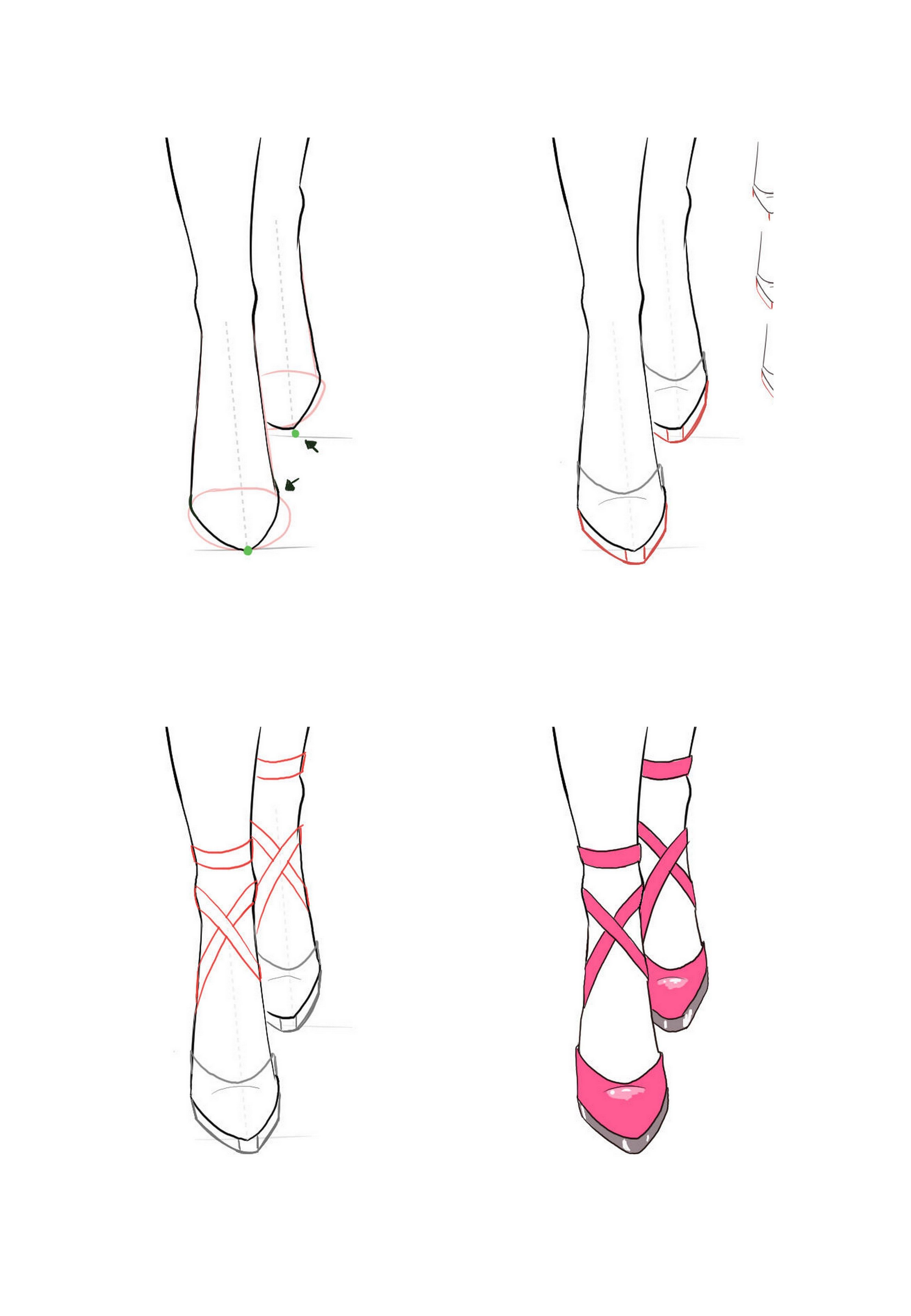 Draw front view of shoes. in 2020
