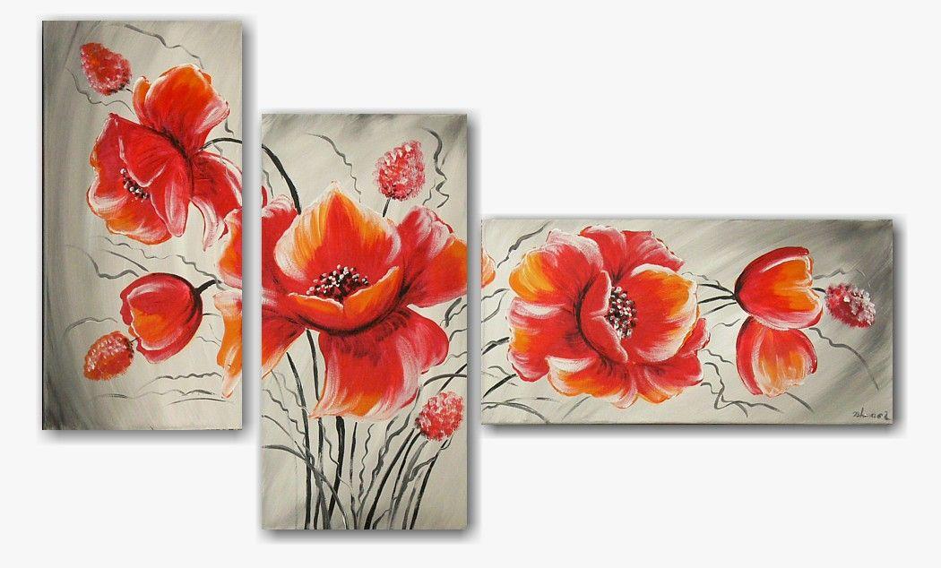 Schilderijen van bloemen en planten schilderij poppies for Schilderijen van bloemen