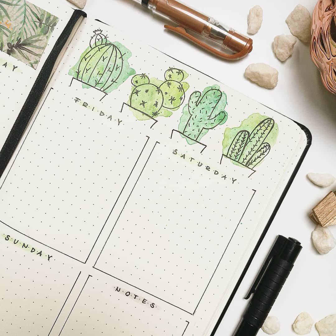 I adore everything about this sread - the watercolor and the cactus! this is from @bujo.in.a.jar . Monthly we have great free printable… #augustbulletjournal