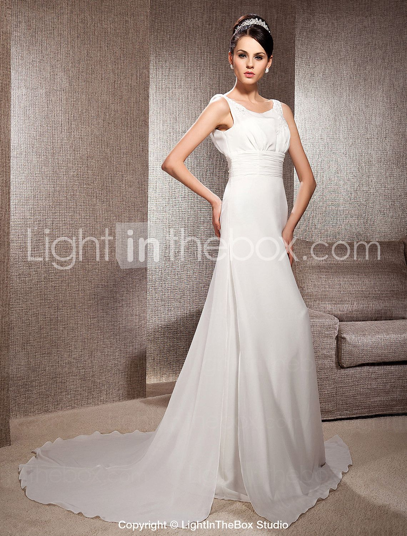A line chiffon wedding dress  Aline Scoop Court Train Chiffon Wedding Dress  Chiffon wedding