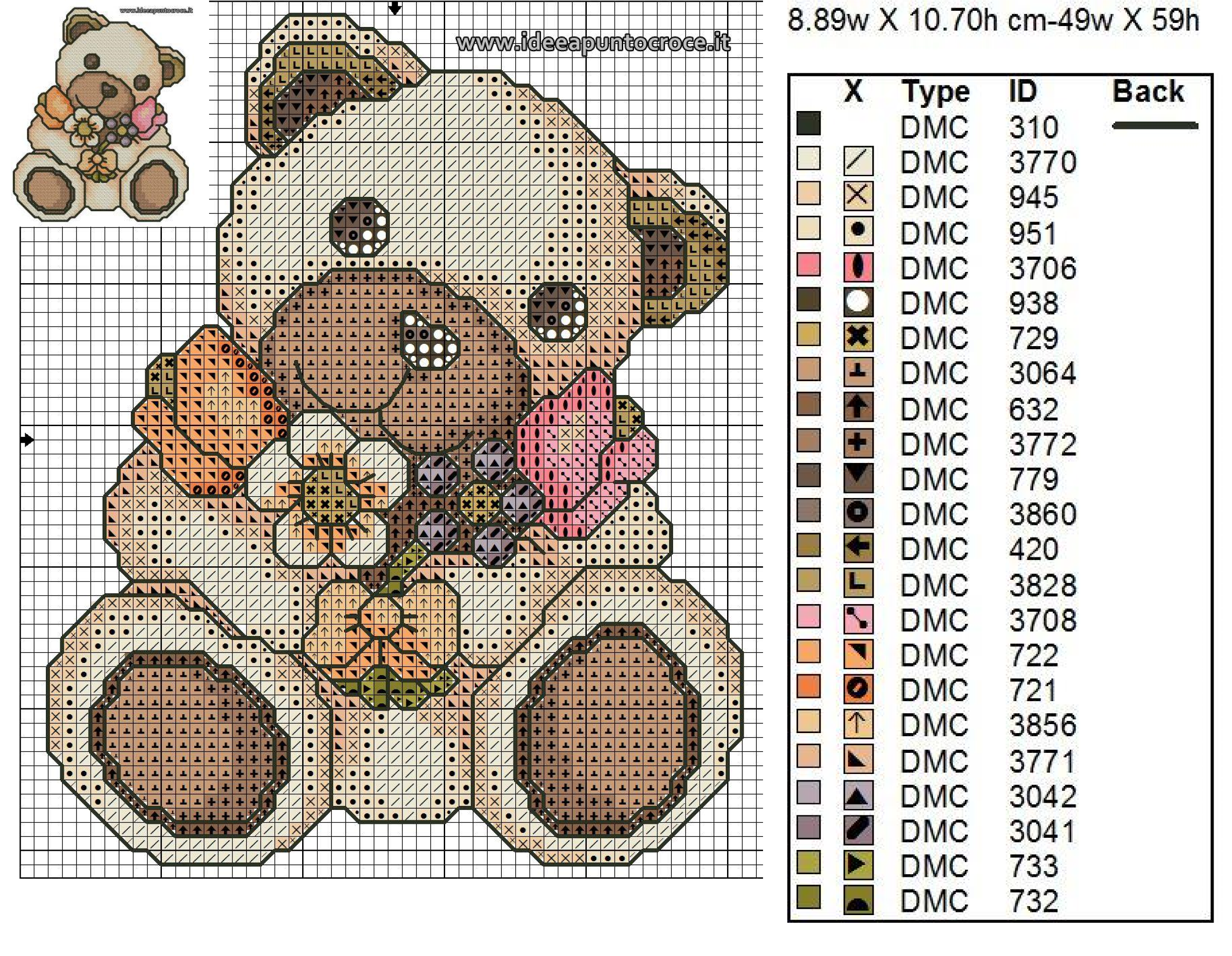 Teddy thun schema punto croce h mz s cross stitch baby for Schema punto croce orsetto