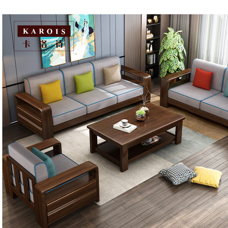 Simple Solid Wood Small Sofa Nordic Simple Fabric Small Apartment Double Three Person Living Room Single Sofa Chair Aliexpress In 2020 Wooden Sofa Designs Living Room Sofa Design Sofa Design Wood