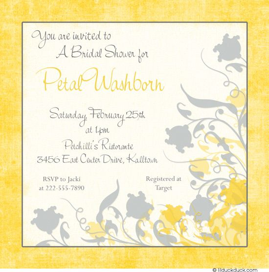Yellow  Gray Floral Bridal Shower Invitation Design  Invitations