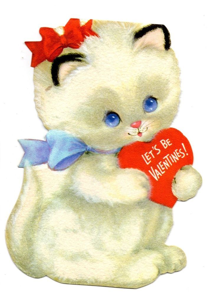 Vintage Cute Flocked CatKitten With Bows Holding Heart Valentine