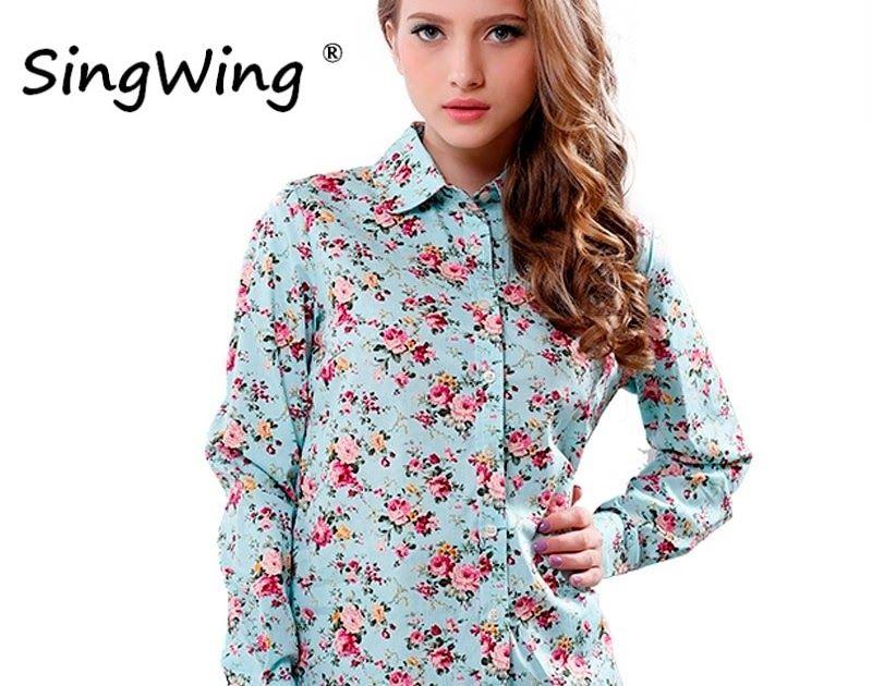 8fa20bd8335cd Cheapest Singwing New Women Cotton Blouse Long-sleeve Printed Flowers  Shirts Casual Slim Floral Blusas Femininas Camisas Roupas.  shirt  tshirt