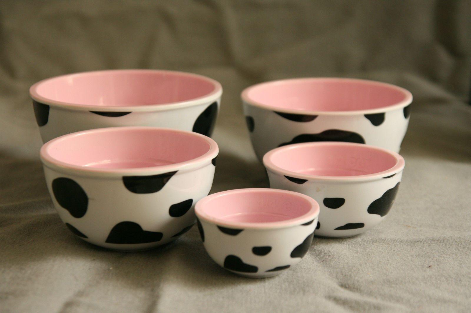 Cow Print Melamine Complete Set 5 Nesting Prep Bowls Farm
