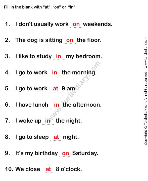 Prepositions Worksheet3 - esl-efl Worksheets - grade-1 Worksheets