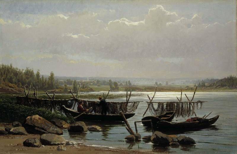 Mornig in Porvoo Archipelago - Aamutunnelma Porvoon saaristosta, 1873 – öljy kankaalle – Churberg, Fanny  (1845-1892), Ateneumin taidemuseo - Tuon ajan kotimaisen maisemataiteen tuli olla lyyristä,harmonista ja siloiteltua.Churbergin aiheet eivät olleet totutun runollisia,hän kuvasi myöhäissyksyä,nuoskasäätä,kallioita ja rämeitä.Vaikka Churbergia periaatteessa pidettiin lahjakkaana,hänen teoksiinsa suhtauduttiin koko 1870-luvun ristiriitaisesti.