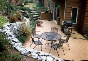 Retaining wall around a French Drain.