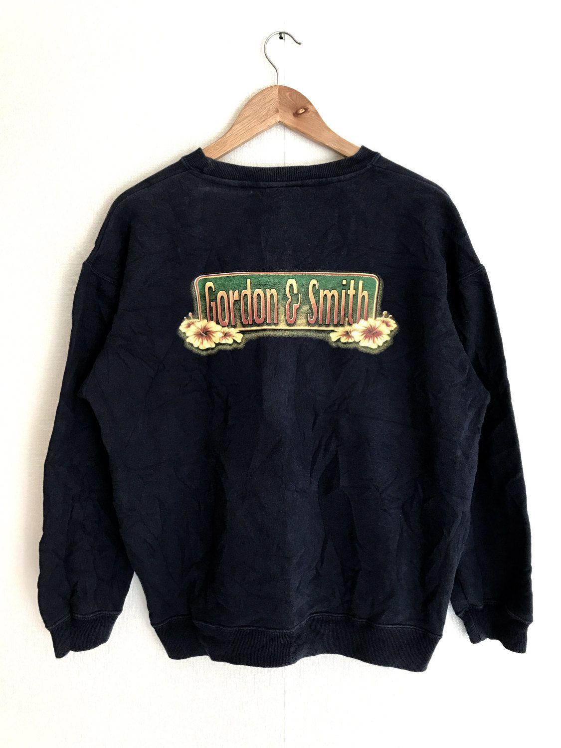 8c9ba76002d4 Sale Rare !! Vintage Surf Clothing Gordon & Smith Floral designs  sweatshirts 90's skate surf fashion style Dark Blue by Psychovault on Etsy