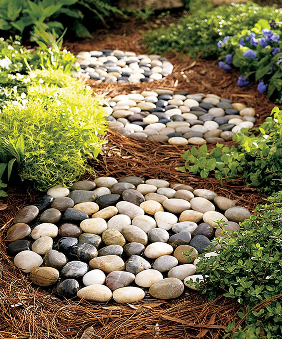 river rock stepping stones could be a great diy project on extraordinary garden stone pathway ideas to copy id=42044