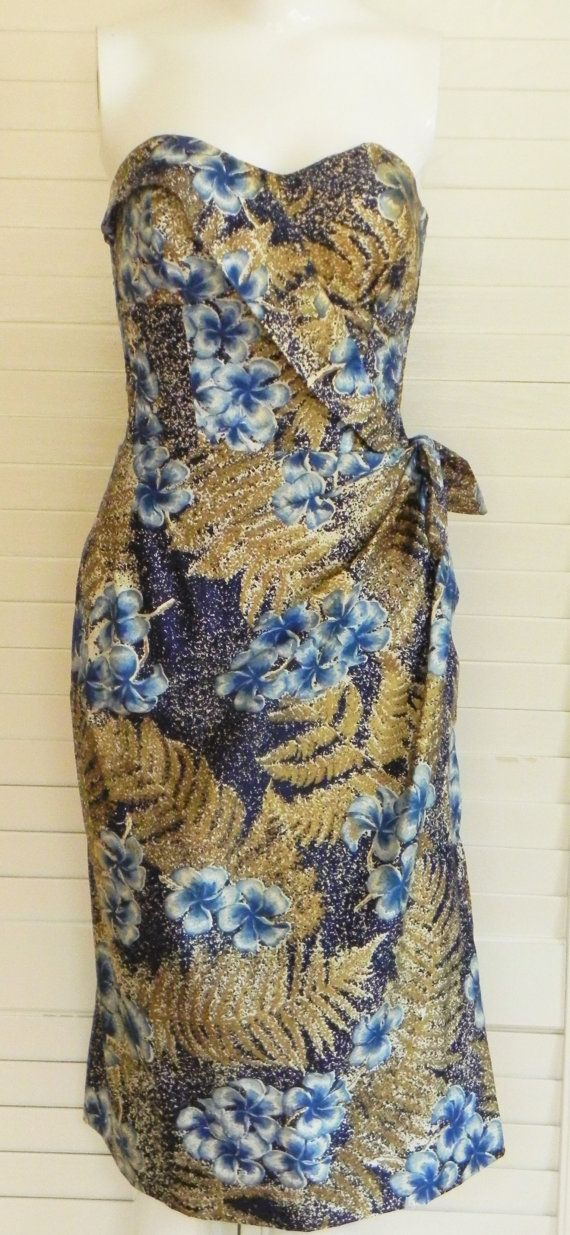 Alfred Shaheen Honolulu //Vintage //1950s Dress //Strapless //Sarong //Wiggle…